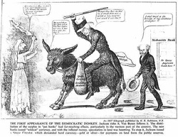 spoils system andrew jackson. The First Appearance Of Democratic Donkey. Jackson Rides It And Van Buren Trails Behind Spoils System Andrew S